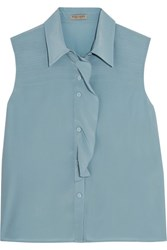 Bottega Veneta Ruffled Silk Crepe De Chine Blouse Blue