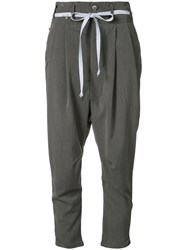 L'equip Drop Crotch Cropped Trousers Women Polyester Spandex Elastane Rayon 28 Grey