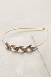 Anthropologie Crystal Leaf Headband Gold