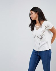 Sugarhill Boutique Butterfly Cutwork Embroidered Top Cream Cream