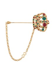 Dolce And Gabbana Crown Brooch Pin Gold