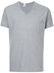 N. Hoolywood V Neck T Shirt Men Cotton 40 Grey