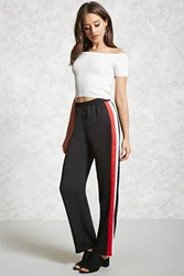 Forever 21 Striped Satin Pants Black White