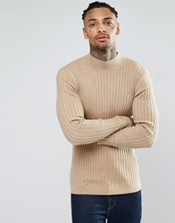 Asos Muscle Fit Ribbed Turtle Neck Jumper In Merino Wool Mix Sable Beige