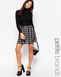 New Look Petite Check Zip Front Skater Skirt Grey