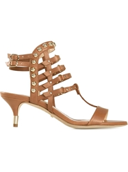 Jerome Rousseau Strappy Kitten Heel Sandals Brown