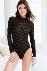 Out From Under Foxy Flocked Bodysuit Black