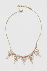 Topshop Fabric Wrap And Bead Drop Necklace Coral