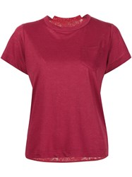 Sacai Lace Insert T Shirt Red