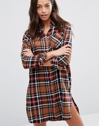 Only Checked Shirt Dress Multi
