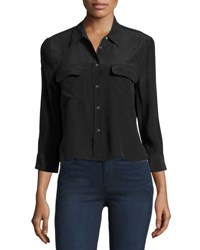 Equipment Cropped 3 4 Sleeve Signature Shirt True Black