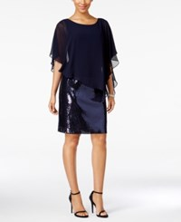 Msk Sequined Chiffon Overlay Dress Navy