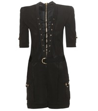 Balmain Knitted Lace Up Playsuit Black