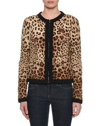 Dolce And Gabbana Zip Front Leopard Print Quilted Silk Jacket