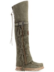 El Vaquero 70Mm Coleen Suede Over The Knee Boots Washed Green