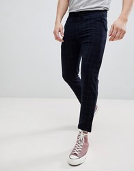 Pull And Bear Pullandbear Tailored Trouser In Navy Check