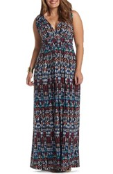 Tart Plus Size Women's Chloe Empire Waist Maxi Dress Ikat Geometric
