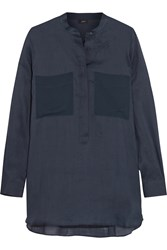 Joseph Peter Silk Chiffon Paneled Ramie Shirt Blue