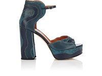 Derek Lam Women's Kimble Leather And Snakeskin Platform Sandals Blue Navy Turquoise
