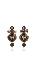 Ranjana Khan Black Cross Earrings Gold