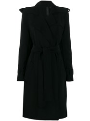 Norma Kamali Belted Trench Coat Black