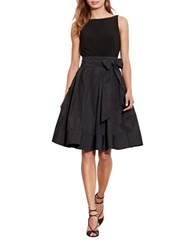 Lauren Ralph Lauren Sleeveless Jersey Taffeta V Back Fit And Flare Dress Black