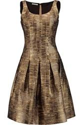 Oscar De La Renta Metallic Faille Dress Gold