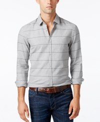 Hugo Boss Men's Green Men's Bambra Striped Shirt Grey Melange