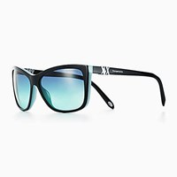 Tiffany And Co. Atlas Rectangular Sunglasses In Black Blue Acetate. Plastic