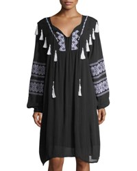 Chelsea And Theodore Split Neck Embroidered Long Sleeve Dress Black White