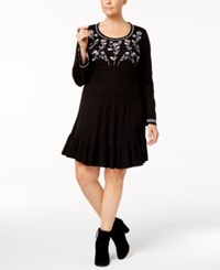 Style And Co Plus Size Embroidered Ruffled Sweater Dress Created For Macy's Deep Black