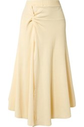 Maggie Marilyn Honey Ain't Home Knotted Ribbed Stretch Cotton Jersey Midi Skirt Ecru