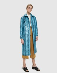 Collina Strada Mechanic Faux Snakeskin Trench Blue