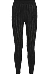 Alexander Wang T By Frayed Wool Leggings Black