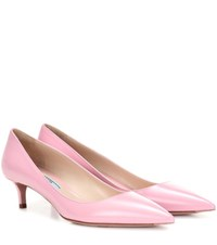 Prada Leather Kitten Heel Pumps Pink