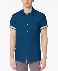 Kenneth Cole Reaction Men's Metzger Cotton Shirt Persian Blue