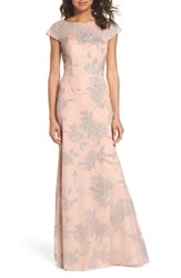 Hayley Paige Occasions Embellished Bateau Neck Gown Almond