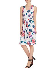 Ellen Tracy Neo Romanticism Floral Printed Dress White