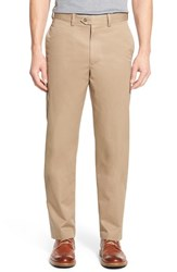 Nordstrom Men's Big And Tall Men's Shop 'Classic' Supima Cotton Flat Front Trousers Tan Desert