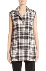 Victor Alfaro Women's Plaid Print Silk Tunic