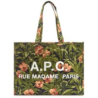 A.P.C. Floral Print Logo Shopper Bag Green