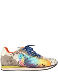 Etro Suede And Printed Cotton Canvas Sneakers Beige