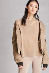 Forever 21 Vintage Ripped Neck Solid Tee Brown