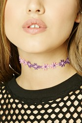 Forever 21 Floral Crochet Choker Pink Purple