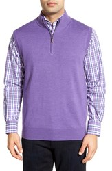 Men's Peter Millar Quarter Zip Merino Wool Vest Fog