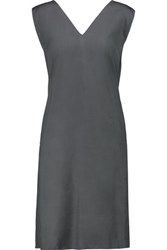 Marni Draped Silk Voile Dress Dark Gray