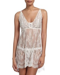 Hanky Panky Victoria Sheer Lace Chemise And Thong Set Light Ivory