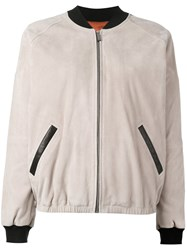 Barbara Bui Leather Bomber Jacket Nude Neutrals