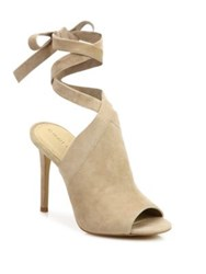 Kendall Kylie Evelyn Suede Ankle Tie Mules Tan