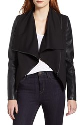 Bagatelle Drape Faux Leather Jersey Jacket Black